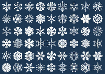 Big set of white snowflake silhouettes isolated on blue background. Winter, New Year, Christmas festive symbols