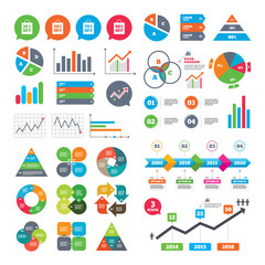 Business charts. Growth graph. Sale bag tag icons. Discount special offer symbols. 30%, 50%, 70% and 90% percent off signs. Market report presentation. Vector