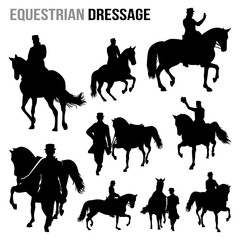 Equestrian Dressage Horse and Jockey Silhouette Set