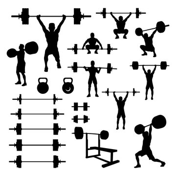 Weightlifting Weightlifter and Body Building Equipment Silhouette