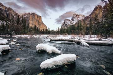 Landscape of Yosemite Valley, including El Capitan, Bridalveil Fall in California, USA.