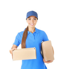 Delivery woman in uniform with parcels on white background