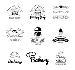 Bakery products and pastry cupcake, cake, chef hat, bread, croissant. Menu restaurant.