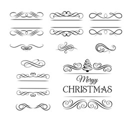 Merry Christmas Vintage elements and page decoration. Ornate frames and scroll element. Kit of Vintage Elements for Invitations, Banners, Posters, Placards