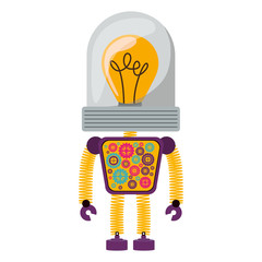 colorful robot cartoon icon with bulb light over white background. vector illustration