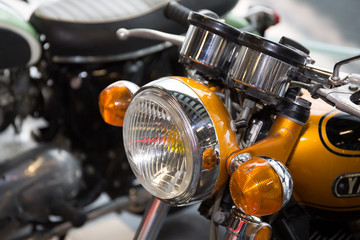Vintage motorbike. Retro motorcycle with headlight