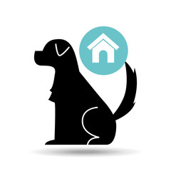 silhouette dog pet home icon vector illustration eps 10