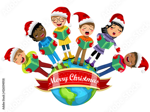 bc14c70fc0136 Multicultural kids wearing xmas hat singing Christmas carol Earth isolated