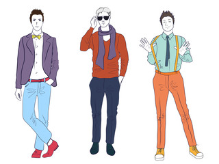 Handsome young guys men models in casual modern fashion clothes isolated. Flat sketch line man people set.