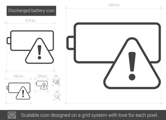 Discharged battery line icon.