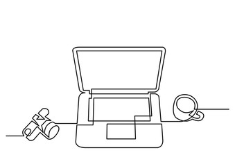 continuous line drawing of camera laptop and cup og coffee