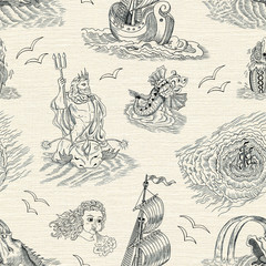 Seamless nautical background with sea mythological creatures and vintage ship