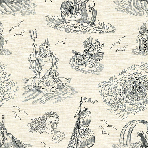 Seamless nautical background with sea mythological creatures and