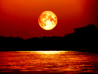 full blood moon and moonlight on river, Elements of this image f