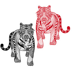 Tiger Chinese zodiac sign vector illustration,free hand line in white background