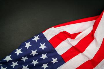 American flag on black background .