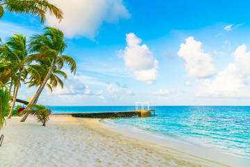 Beautiful tropical Maldives island with white sandy beach and se