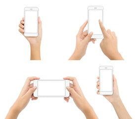 hand hold phone blank screen isolated on white background, mock-