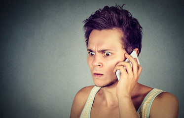 Frustrated, pissed of by someone listening on mobile phone