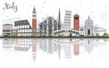 Italy Skyline with Landmarks and Reflections.