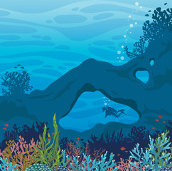 Wild marine life - underwater cave, coral reef and scuba diver.
