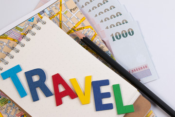 Travel planning with travel word alphabet. Template with planning items on traveler workplace. Planning vacation trip with travel alphabet.