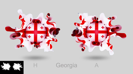 Georgia flag with soccer football  isolated on  gray background , splash concept ,3d illustration