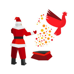 Santa Claus produces a fire rooster out of the gift bag. China astrology symbol cock flies to freedom. New year concept for card or poster. Flat style vector clip art on white background.