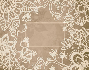 brown sepia flower background,  beige vintage style abstract floral lace border with center text box and faint double exposure flower background layer, elegant old paper