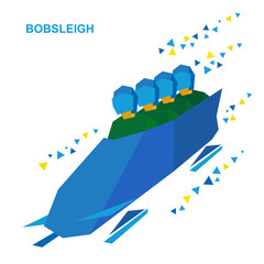 Winter sports - bobsleigh. Cartoon athletes ride in bobsled. Four sportsmen in green bobsledding. Flat style vector clip art isolated on white background. With patterns.