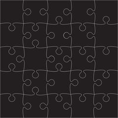 Vector Black Puzzles Pieces - JigSaw - 25.