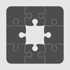 Grey Puzzles Pieces JigSawI Icon Symbol - 9.