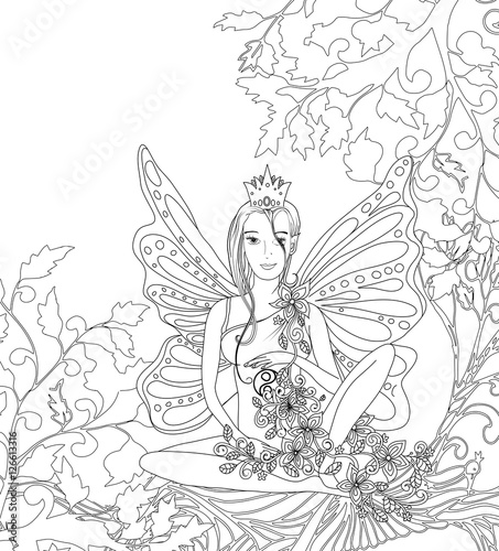 Adult Coloring Book Pageisolated Fairy Lady With Butterfly Wings Zentangle Style Art