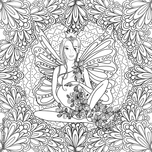 """""""Adult coloring book page with fairy Pregnant lady with"""