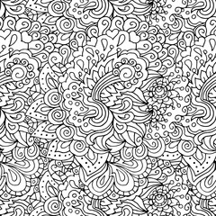 Doodle style floral garden seamless pattern
