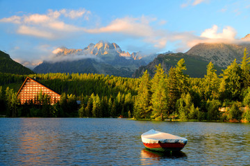 Mountain lake Strbske pleso in National Park High Tatras at sunset, Slovakia, Europe