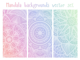 Cards set with mandala mehndi ornament in Indian style. Abstract background. Ethnic design for card, invitation, party, presentation, greeting, boho, wedding. Vector illustration.