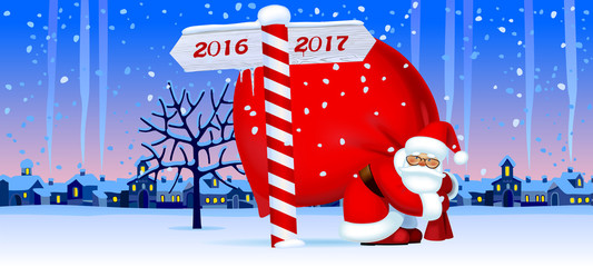 Santa Claus with a New Year sign