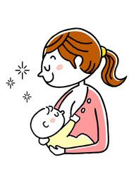 出産:赤ちゃんに母乳を飲ませる母