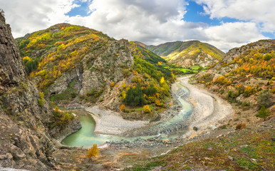 Autumn mountain / Panoramic view of an autumn forest and meanders of Arda river near Kardzhali, Bulgaria