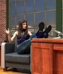 Talk Show TV performance scene 3d illustration