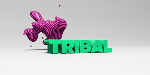 TRIBAL - 3D rendered colorful headline illustration.  Can be used for an online banner ad or a print postcard.
