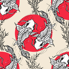 Koi carps seamless pattern, hand drawn japanese pattern