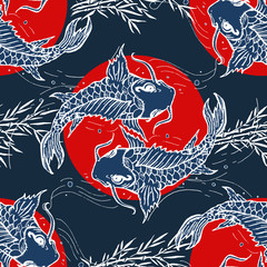 Carps seamless pattern, hand drawn japanese art