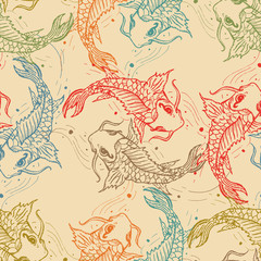 Carps seamless pattern, hand drawn carp japanese background