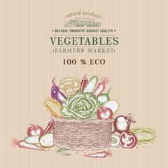 Fresh vegetables in basket vintage poster. Eco food