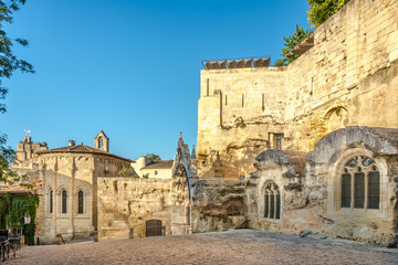 Saint Emilion - Monolithic church carved from a limestone cliff - France