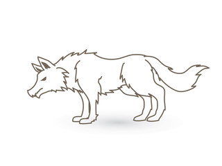 Wolf standing outline graphic vector