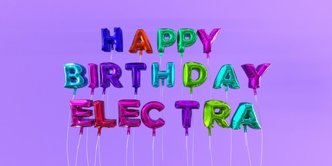 Happy Birthday Electra card with balloon text - 3D rendered stock image. This image can be used for a eCard or a print postcard.
