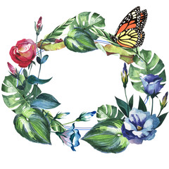 Tropical Hawaii leaves palm tree and butterflies wreath in a watercolor style isolated.